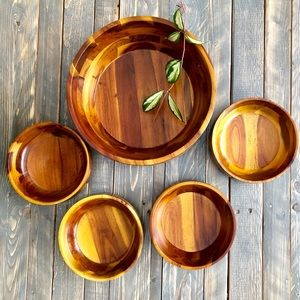 Other - Wooden Round Salad Bowl Set